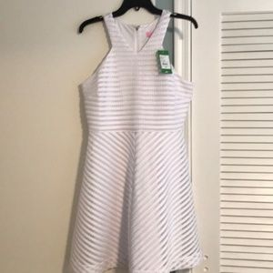 NWT Lilly Pulitzer White Crochet Striped  Dress